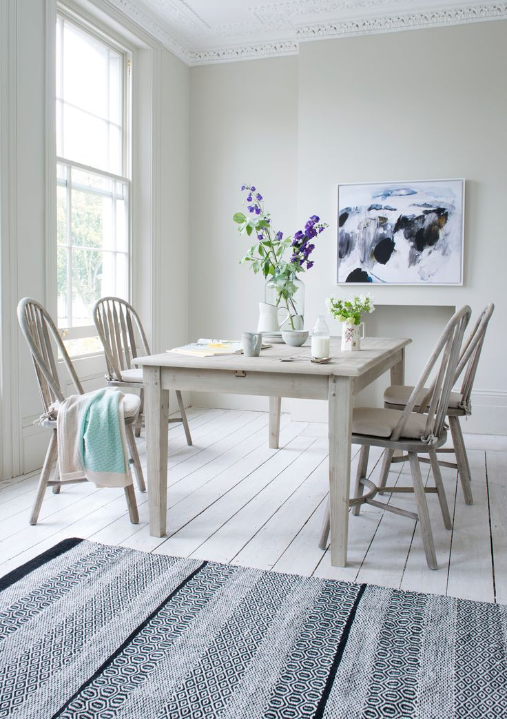 This classic, farmhouse style kitchen / dining table is finished in our beached timber and goes with so many of our kitchen chairs, it's actually hard to choose one to photograph it with. Seriously easy-going.