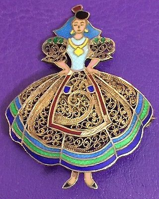 VINTAGE TOPAZIO PORTUGAL STERLING SILVER GOLD WASHED FILIGREE ENAMEL LADY BROOCH
