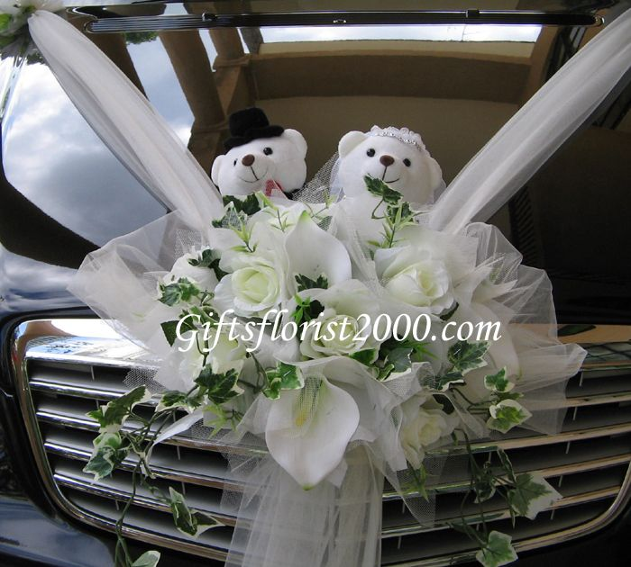 Altar Wedding Cars Manchester: Bridal Car Flower Arrangement With Teddy Couple