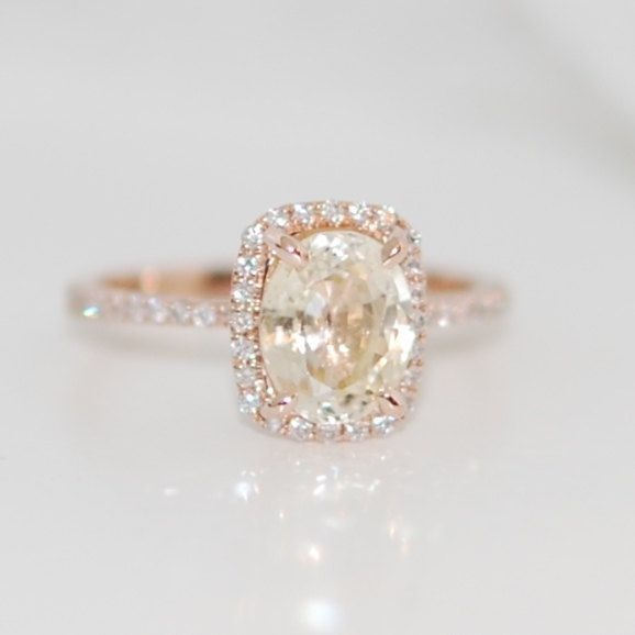 part 1 -Champagne sapphire engagement ring 14k rose gold 2.07ct cushion cut…