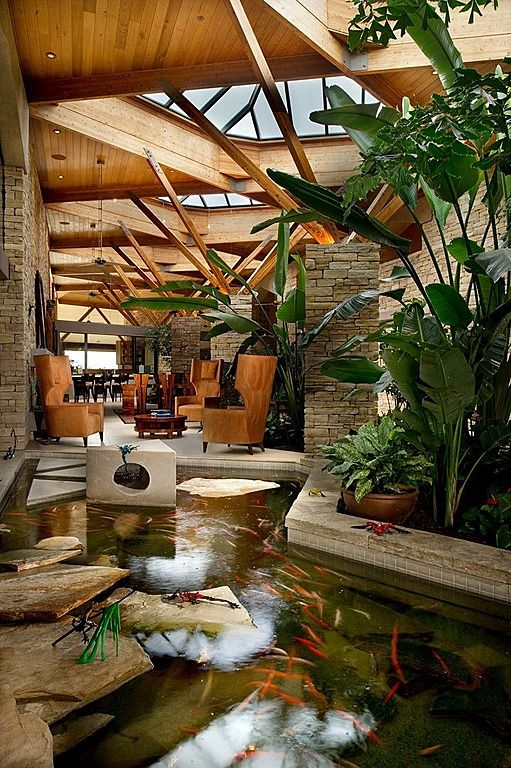 Would love to have an indoor water feature like this, as long as the house is climate controlled and still green / energy efficient.