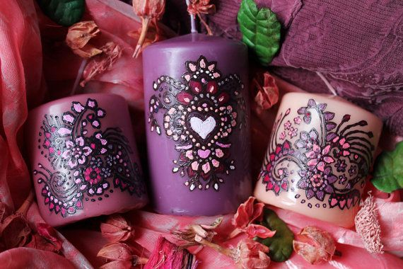 Set of 3 Hand Painted Henna Candles