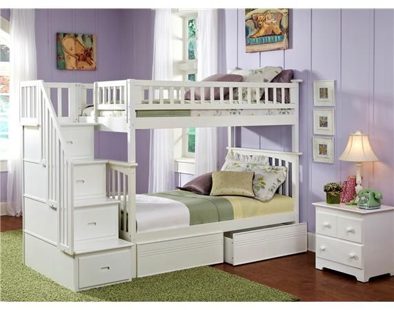Atlantic Furniture Columbia Staircase Bunk with Flat Panel Drawers www.DEQOR.com