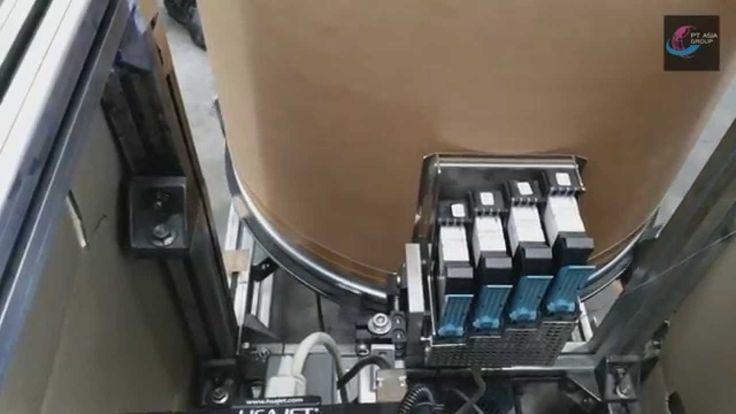 MiniTouch HSAJet TIJ Printer 4 pens printing onto Fiber Pack Paper Drums
