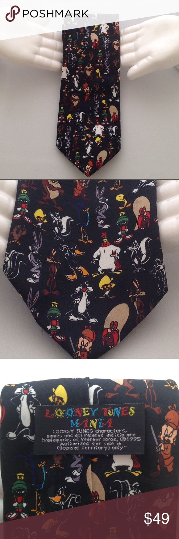 """Looney Tunes Mania Tie 1995 Vintage Rare Like New Rare...Vintage...1995...Looney Tunes Mania Characters Novelty Tie...Bugs Bunny...Elmer Fud...Tasmanian...Daffey Duck...Wiley Coyote and more...100% Polyester...Dry Clean Only...NOTE: Has small smudge mark on bottom  front on Yosemite Sams Hat on 2nd Photo...Thanks for shopping @ """"hybridsynergy"""" Looney Tunes Mania Warner Brothers Accessories Ties"""
