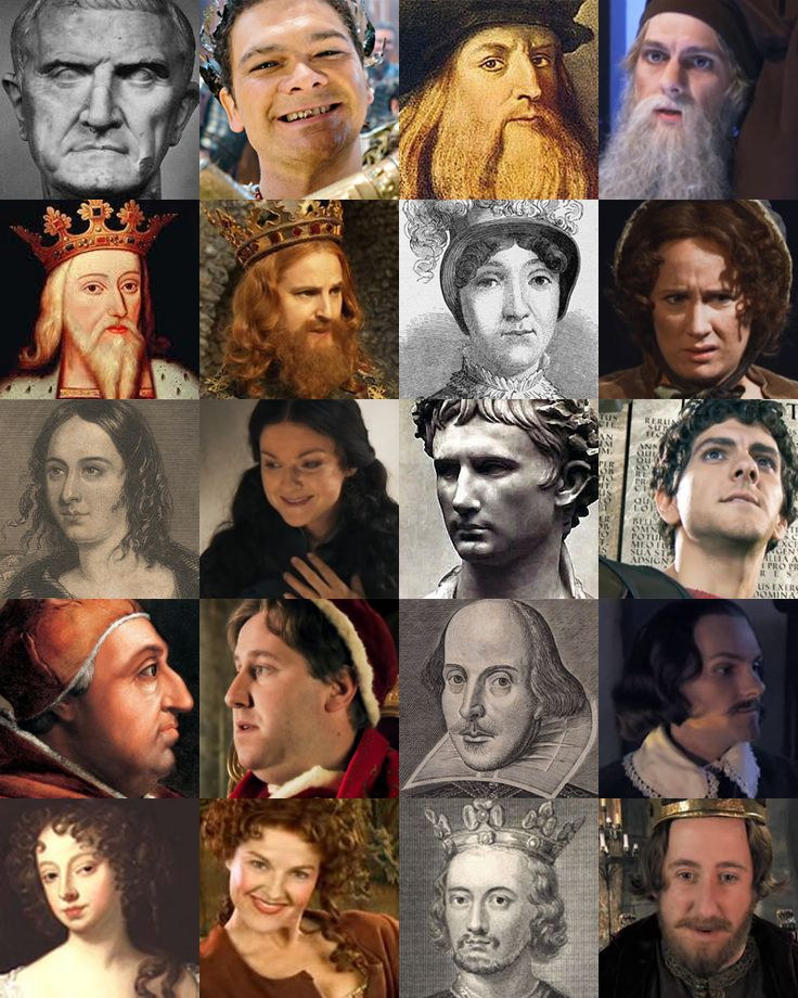 Historical figures and their Horrible Histories counterparts