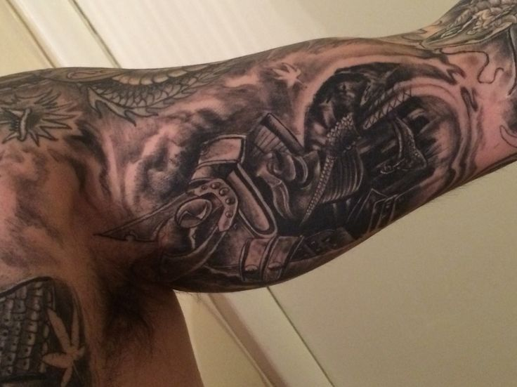 Samurai tattoo inside left arm completed by DAMMNICE tattoos Yonkers