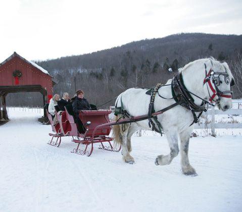 Sleigh rides at Vermont's Topnotch Resort, Stow, VT