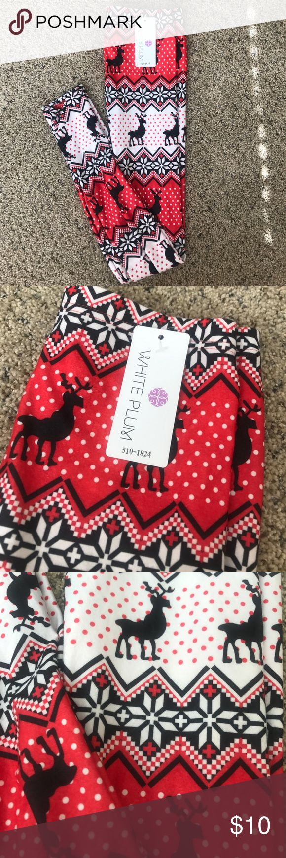 NWT Holiday Leggings. Fun reindeer print! Would be perfect paired with a sweater this winter! NWT. White Plum Pants Leggings