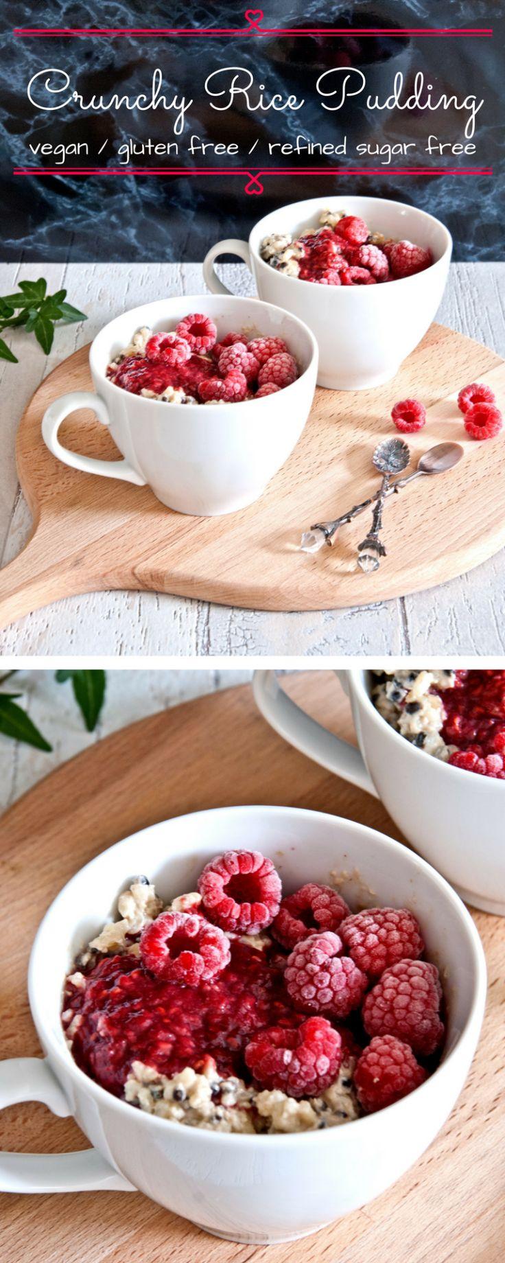 Crunchy vegan almond ricepudding with raspberry compott - delicious dessert