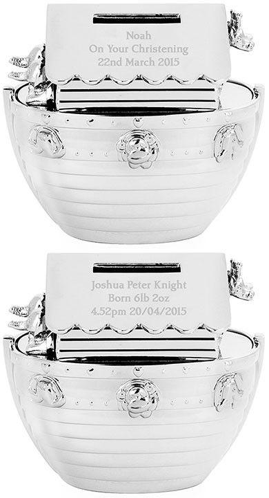 Engraved Noah's Ark Money Box - personalised christening gifts from Bundles of Joy