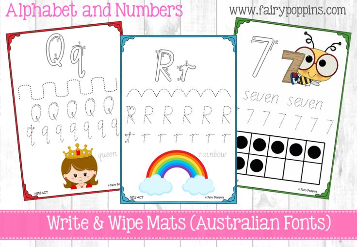 Alphabet and number write and wipe mats in all Australian school fonts, such as Victorian Modern Cursive, New South Wales Foundation, Queeensland. Includes numbers. Cute graphics! :) http://www.fairypoppins.com/handwritingresources