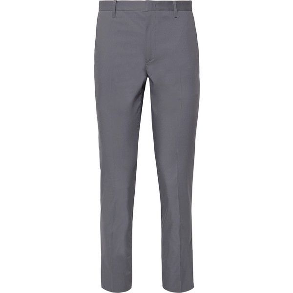 Solid Homme Anthracite Slim-Fit Stretch Cotton-Blend Suit Trousers ($285) ❤ liked on Polyvore featuring men's fashion, men's clothing, men's pants, men's casual pants, mens slim dress pants, mens travel pants, mens slim fit pants, mens lightweight cargo pants and mens slim pants