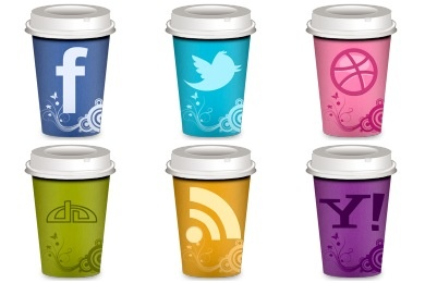 Social Coffee Icons - Artwork by Land-of-Web