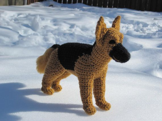 """NEW FEATURE!!! 5 PAGES OF STEP BY STEP INSTRUCTIONAL PHOTOS  This German Shepherd has the coloring and attributes of a realistic Shepherd. He measures 10""""L x 3.25""""W x 8""""H (measurements do not include tail length or any height that the ears may add) He is made from my own original pattern."""