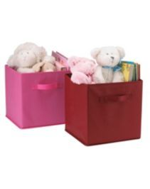 """For Living Pink and Red Cube Fabric Drawers.  On sale for $6.37 at Canadian Tire. Dimensions: 10.5"""" x 10.5"""" x 11"""""""