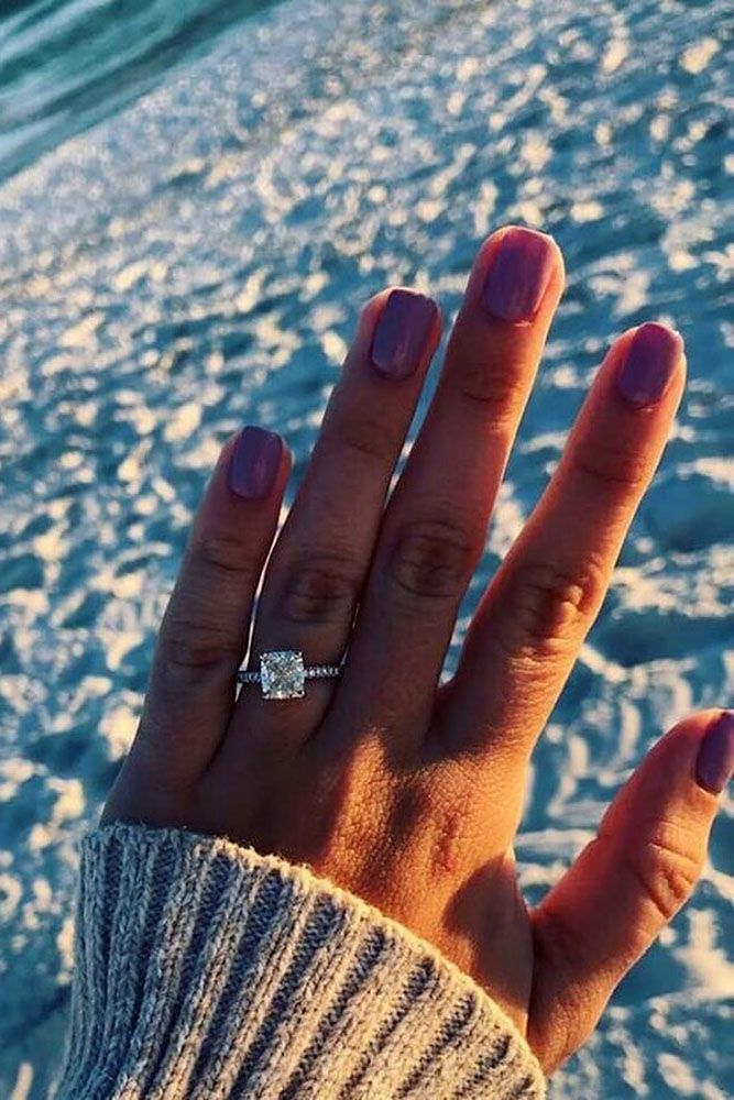 33 TOP Engagement Ring Ideas ❤️ top engagement ring ideas white gold cushion cut centerstone white gold ❤️ See more: http://www.weddingforward.com/top-engagement-ring-ideas/ #weddingforward #wedding #bride #engagementrings