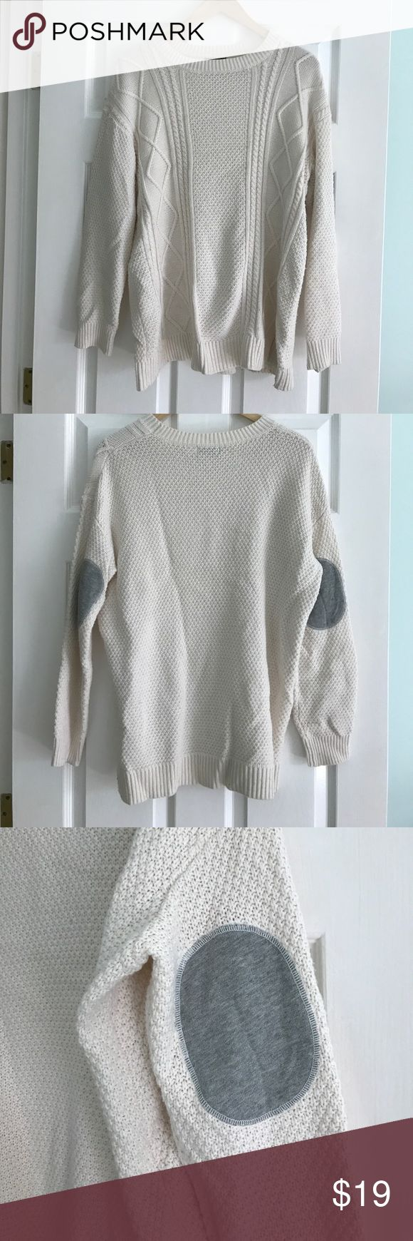 BDG elbow patch pullover sweater Off white sweater bought from Urban outfitter! Fair condition. Great with anything! Urban Outfitters Sweaters Crew & Scoop Necks