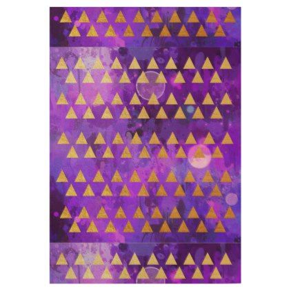 Gold trianglesultra violetpurplepinkmodernfun wood poster - fun gifts funny diy customize personal