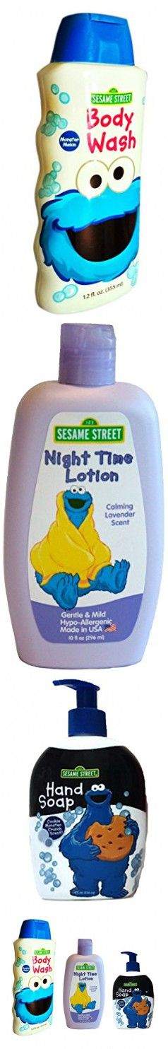 Sesame Street Cookie Monster Bed & Bath Gift Set Night Time Lotion, Hand Soap, Body Wash (Set of 3 Cookie Monster)