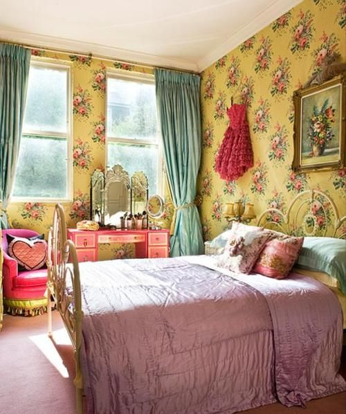 50s bedroom - I'll take the headboard, vanity, and wallpaper please