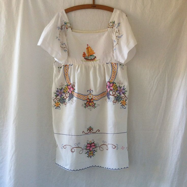 small forest woodsfolk dress in pure cotton with sail boat embroidered linen bodice size 14 by smallforestshop on Etsy