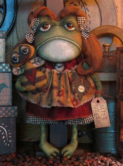 whimsical Art Patterns | pattern primitive frog doll mizz green pattern 405