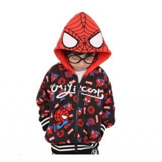子供のスーパーヒーローの衣料用ブラックスパイダーマンパーカー
