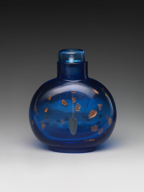Snuff Bottle with Gold Speckles. Qing dynasty (1644–1911), late 18th century. Blue glass with glass stopper.