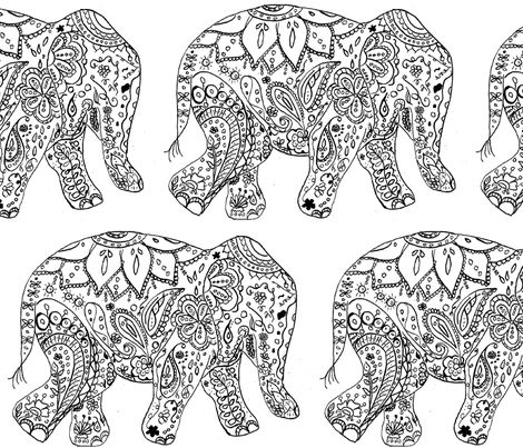website is spoonflowercom henna_elephant fabric by live they have fabric gift wrap - Pictures That You Can Color