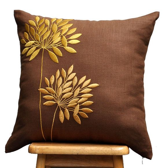 Yellow Gold Pillow Cover,  Russet Brown linen Yellow Gold Flowers Embroidery, Decorative Pillow Cover, Pillow Case 18 x 18, Brown Cushion