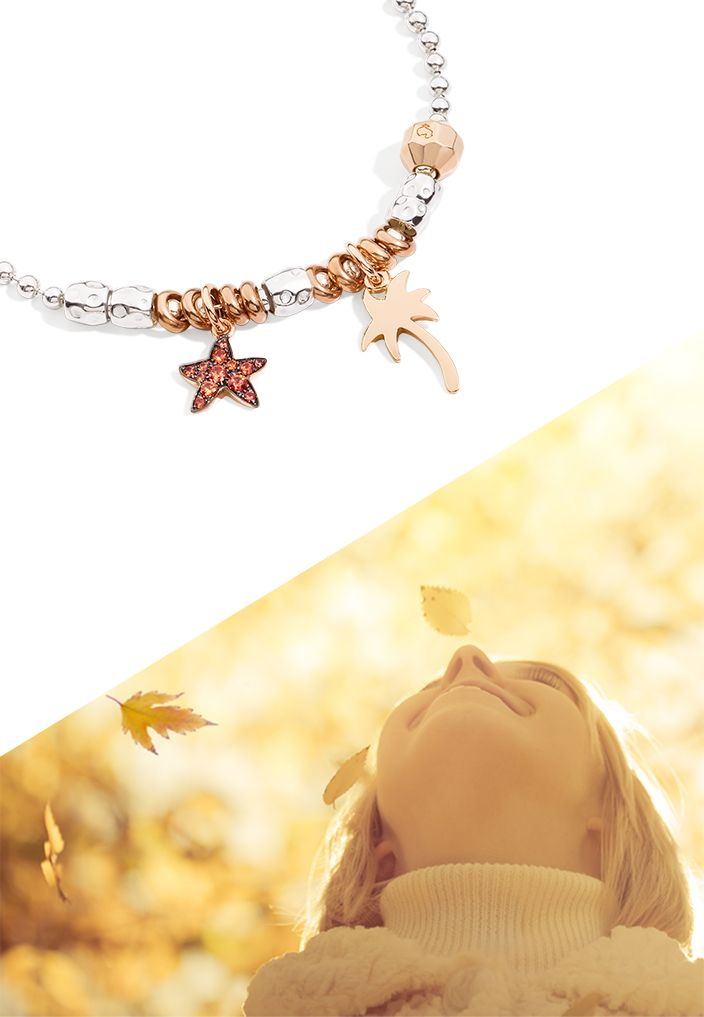Compose your Dodo Everyday bracelet with the rose gold and orange sapphire Starfish charm and the Palm charm and find your happy isle in autumn too.