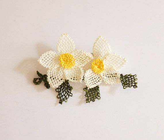 Narcissus Tazetta Daffodil Needle work Brooch by Periay on Etsy, $25.00