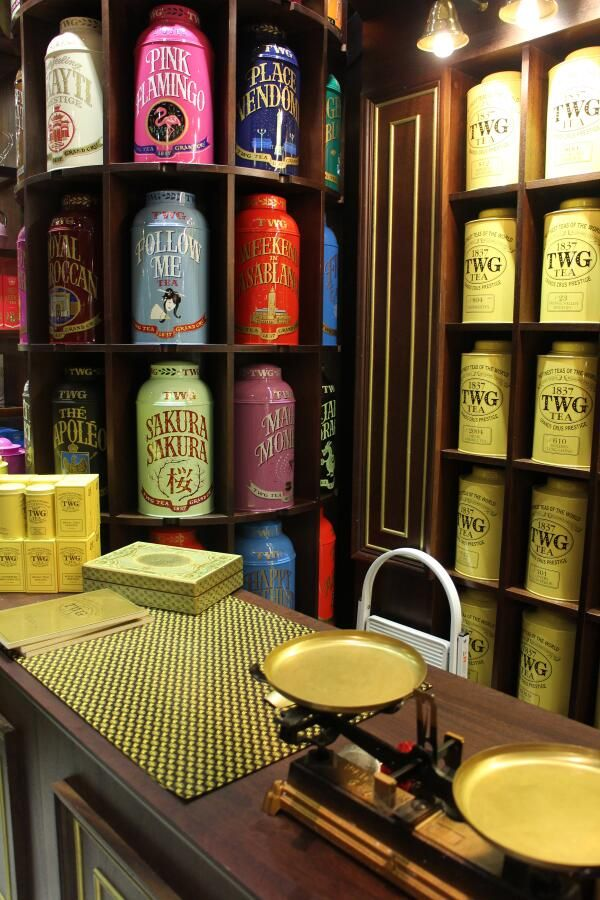 TWG Tea at Harrod's Food Halls. Look at those gorgeous canisters! In the US, TWG is available at Dean & DeLuca.