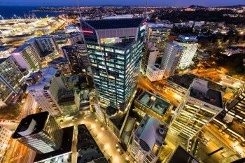 Crazy lines of buildings in downtown Auckland CBD, New Zealand. - Buy this print