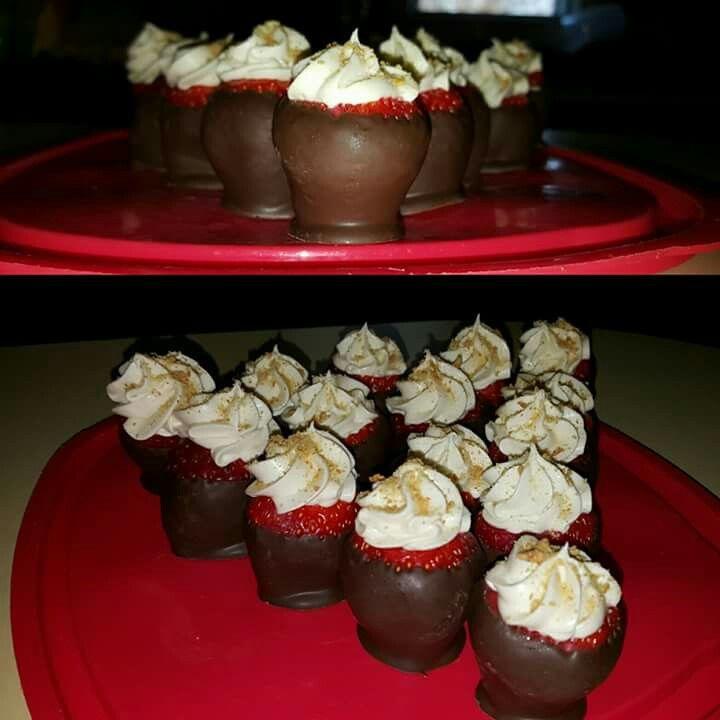 Cheesecake stuffed chocolate strawberries w/ graham cracker crumbs