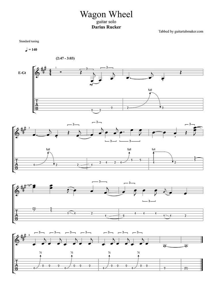 Darius Rucker Wagon Wheel Solo Tab Pdf Guitar Tab Download
