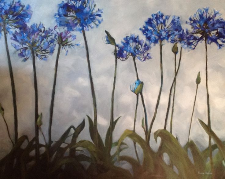 """Agapantha blue"" #oilpainting #agapanthus"