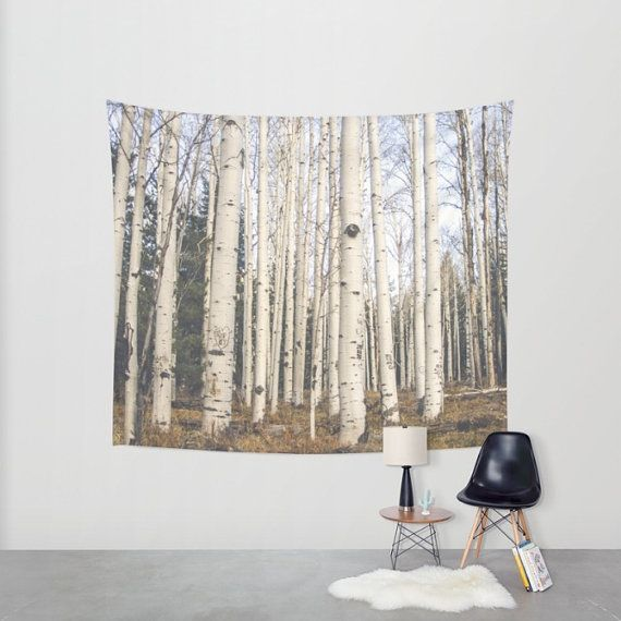 Birch Trees Tapestry, Nature Tapestry, Forest Decor, Forest Tapestry, Large Wall Hanging, Aspen Trees Tapestry, Colorado Tapestry by Lost Kat