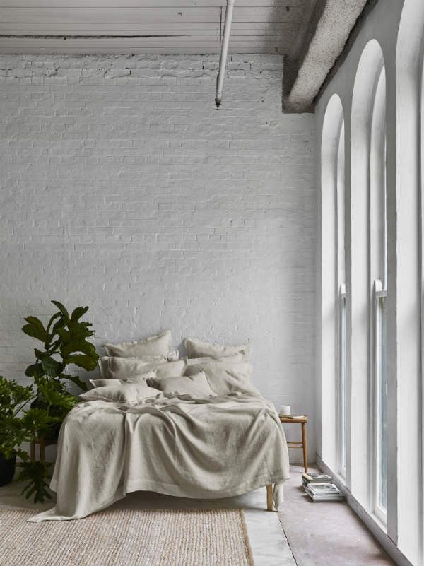 Pure Linen Bed Sheet Set In Sand