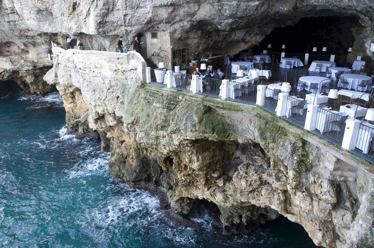 Carved into a crevice of limestone rock face is the Grotta Palazzese Hotel and Restaurant.