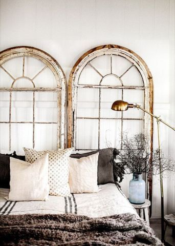 Best Headboard Inspiration -- Antique windows are a rustic yet sophisticated backdrop to this comfortable and inviting bed.