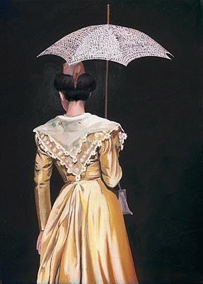 Danielle Raspini - L'Arlésienne, robe jaune à l'ombrelle