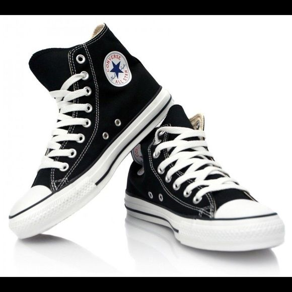 NEW Black Hi top Converse New with box. Willing to trade for a size 6. Will upload a pic of mine when I get the chance. Selling this cheaper on mercarí Converse Shoes
