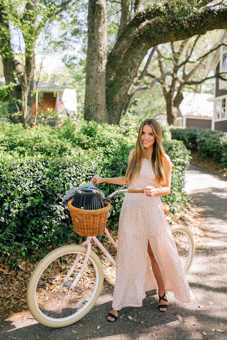 Riding a bike in a maxi dress