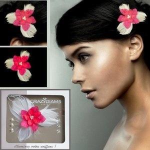 Kit Bijou pour cheveux Crazydiams, Fleur Rouge 3 Plumes