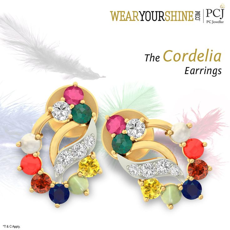 """Dazzle up your chic look with these amazingly colorful pair of """"Cordelia Earrings""""  #WearYourShine #Love #PCJeweller #Earrings #Happiness #Cute #Charms #Jewellery #Jewelry #India #Likes"""