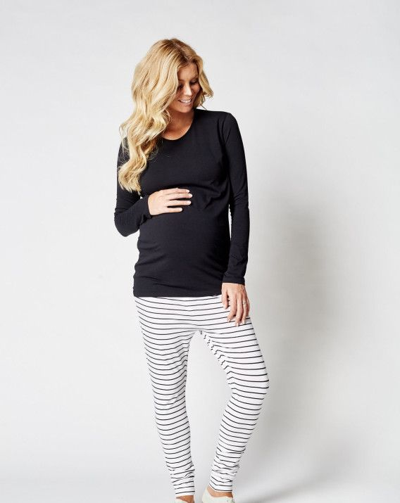 Harlem Top - Blossom & Glow Maternity.  Minimalistic & stretchy organic cotton, you will live in the Harlem Top by LEGOE.  Featuring a round neck, body con fit and the perfect length to ensure the bump is covered and kept cosy at all times.