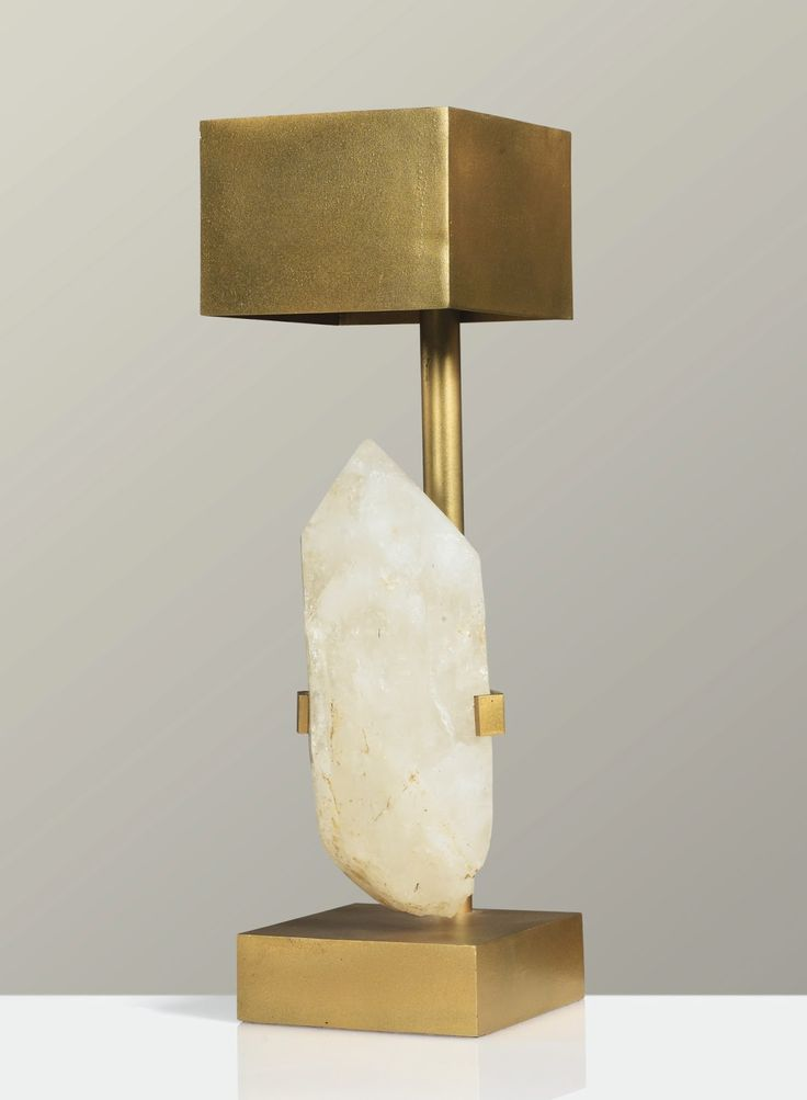 A GILT BRONZE AND ROCK CRYSTAL TABLE LAMP BY ADO CHALE