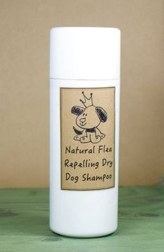This homemade dry dog shampoo recipe is made with all natural ingredients that deodorize your dog's coat while also helping to repel fleas.